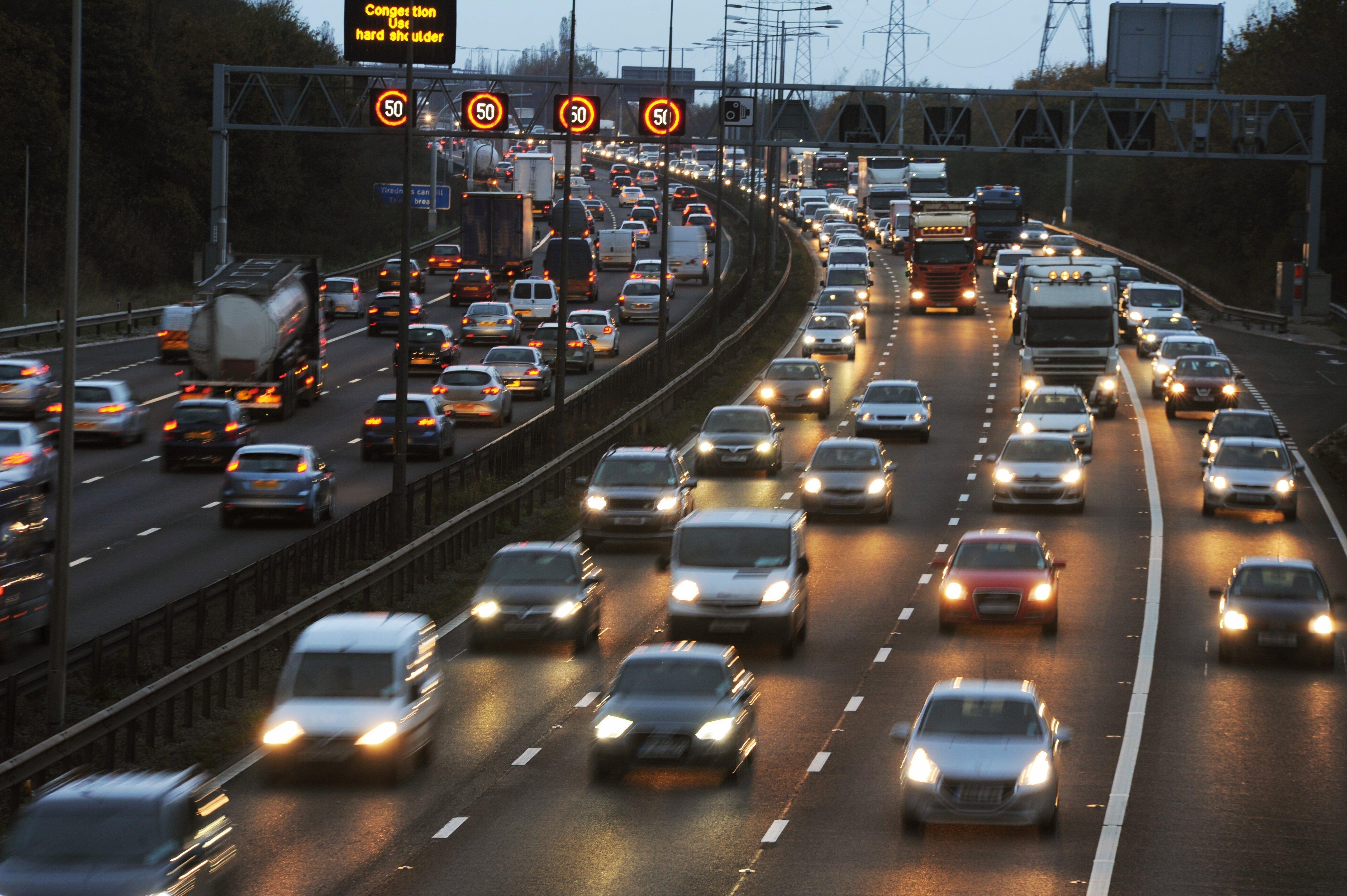 Rush hour traffic on the M6 Motorway. A smart motorway.